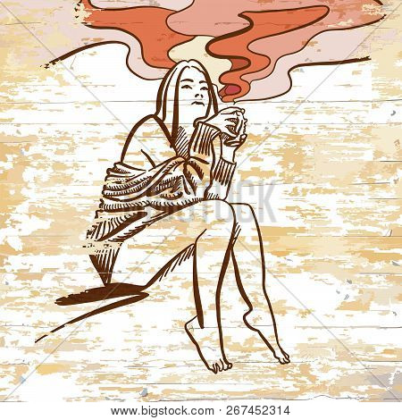 Vintage Girl Drinking Coffee Drawing On Wooden Background. Vector Illustration Drawn By Hand.