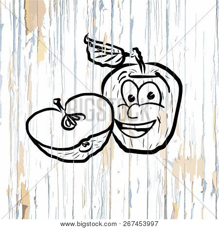 Apple Icons Sketches On Wooden Background. Vector Illustration Drawn By Hand.
