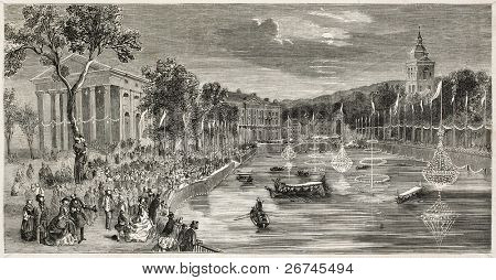 Annecy lighting for Emperor Napoleon III and Empress Eugenie visit. Created by Provost, published on L'Illustration, Journal Universel, Paris, 1860