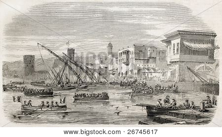 French troops landing in Beirut, old illustration. Created by Provost, published on L'Illustration, Journal Universel, Paris, 1860