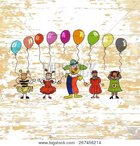 Kindergarten Kids With Balloons On Wooden Background. Vector Illustration Drawn By Hand.
