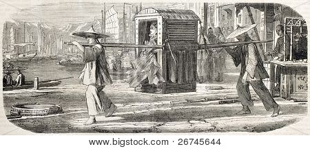 Litter in Shanghai. Created by Grandsire after Grevy de Saint-Malo and Baune, published on L'Illustration, Journal Universel, Paris, 1860 poster