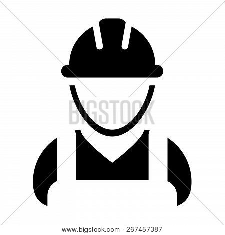 Supervisor Icon Vector Male Construction Worker Person Profile Avatar With Hardhat Helmet In Glyph P