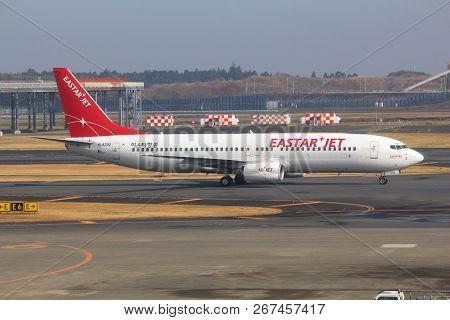 Tokyo, Japan - December 5, 2016: Eastar Jet Boeing 737 Ng Taxies At Narita Airport Of Tokyo. The Air