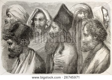 Maronites people old illustration. By unidentified author, published on L'Illustration, Journal Universel, Paris, 1860
