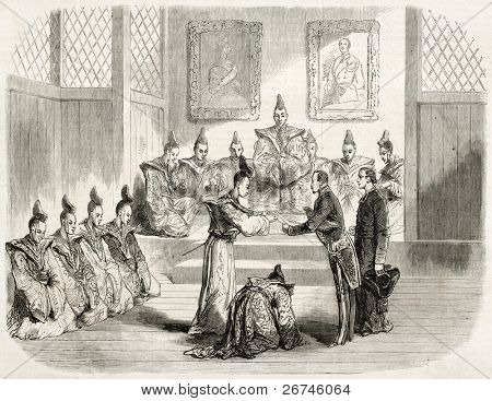 Gustave Duchesne de Bellecour, French ambassador, received by the Taicoun in Yeddo (Tokyo). Created by Janet-Lange, published on L'Illustration, Journal Universel, Paris, 1860