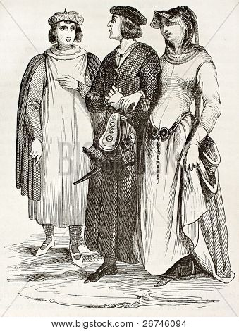 French bourgeois in traditional medieval clothes, old illustration. After manuscript of Miracles de Saint Louis,published on Magasin Pittoresque, Paris, 1844 poster
