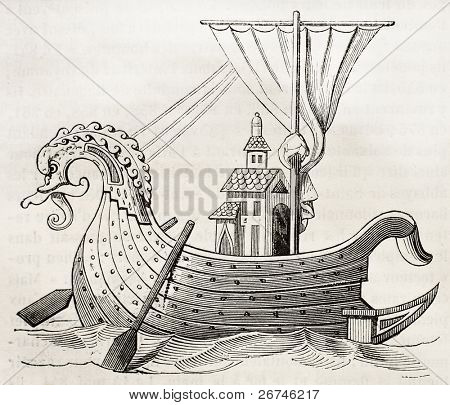 9th century Norman vessel old illustration. After manuscript kept in Royal French library,  published on Magasin Pittoresque, Paris, 1844