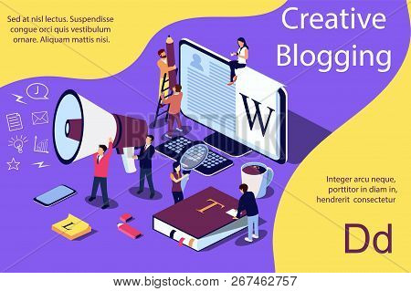 Creative Blogging Isometric Illustration Concept, People Learning About Creative Blogging Or Copywri