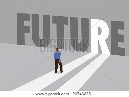 Businessman Walking Towards A Light Path With The Text Future. Business Concept Of Future, Innovatio