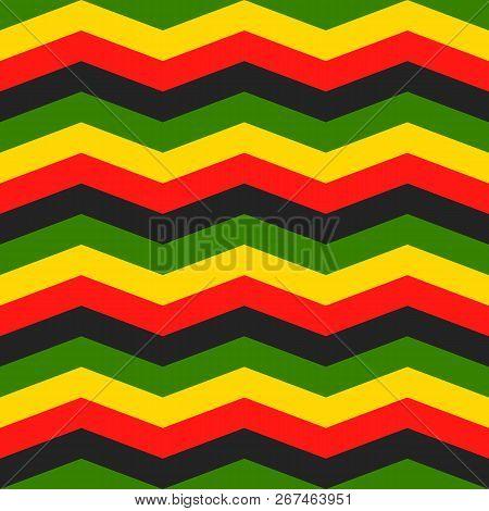 Jamaica Chevron Seamless Pattern. Rastafarian Background. Zigzag Wallpaper In Classic Rasta Reggae C