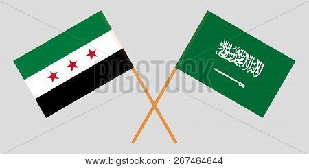 Kingdom Of Saudi Arabia And Syrian National Coalition. The Syria Opposition And Ksa Flags. Official