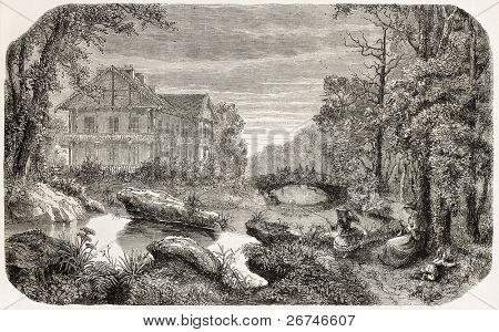 Bois de Vincennes old view, Paris surroundings. Created by Peyronnet, published on L'Illustration, Journal Universel, Paris, 1858
