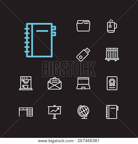 Workplace Icons Set. Library And Workplace Icons With Folder, Laptop And Presentation Board. Set Of