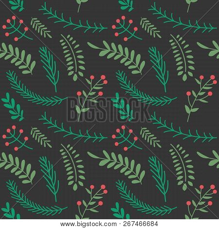 Christmas And Happy New Year Seamless Pattern With Leaves Decoration. Winter Holiday Pattern For Bac