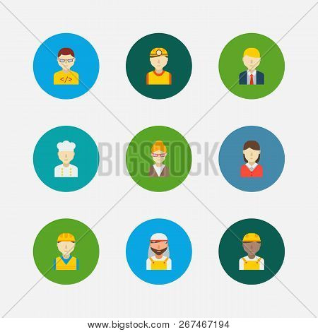 Professional Icons Set. Arab Worker And Professional Icons With Safety Worker, Construction Worker A