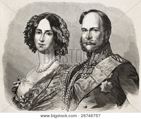 William I, Prince Regent of Prussia (and afterwards German Emperor) with his wife Augusta of Saxe-Weimar-Eisenach. Created by Marc, published on L'Illustration, Journal Universel, Paris, 1858