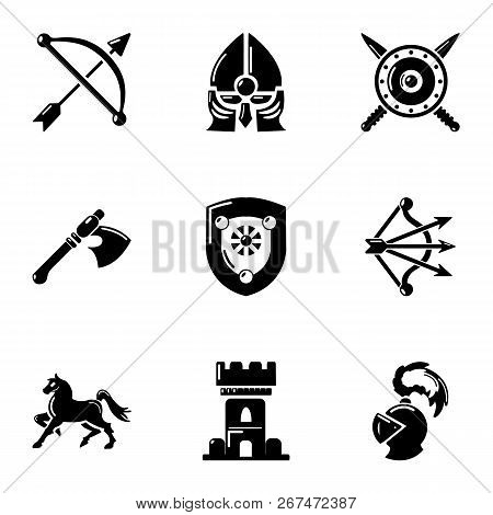 Knight era icons set. Simple set of 9 knight era vector icons for web isolated on white background poster
