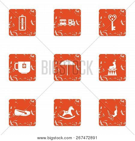 Debut Icons Set. Grunge Set Of 9 Debut Vector Icons For Web Isolated On White Background