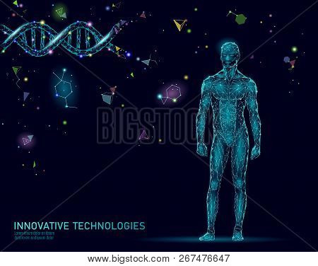 Abstract Human Body Anatomy. Dna Engineering Science Innovation Superman Technology. Genome Health R