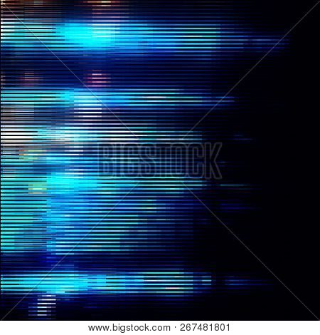 Bright Blue Striped Glitter Background With Glitch Effect. Colorful Bright Mosaic Horizontal Strips