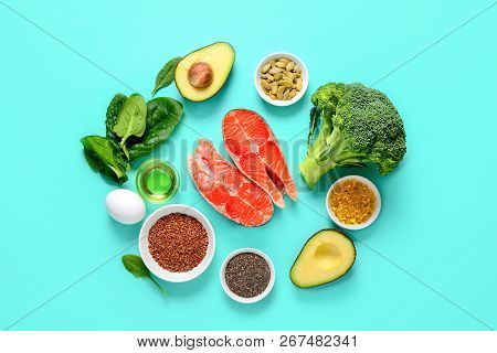Healthy Food Products Which Are Rich Source Of Omega3 Fats, Healthy Eating Concept, View From Above