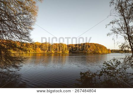 Lake In The Fall Surrounded By Trees In Colorful Autumn Colors