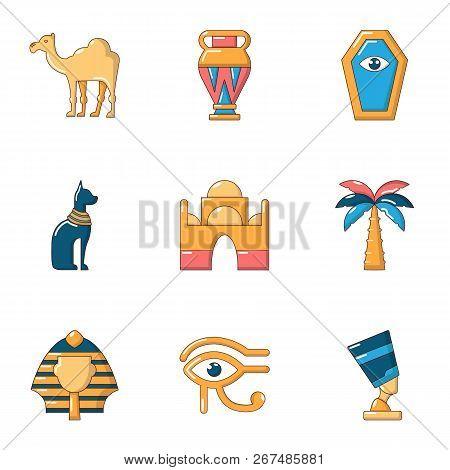 Worship Egypt Icons Set. Cartoon Set Of 9 Worship Egypt Vector Icons For Web Isolated On White Backg