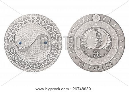 Pisces Belarus Silver Coin 2009 Isolated White Background