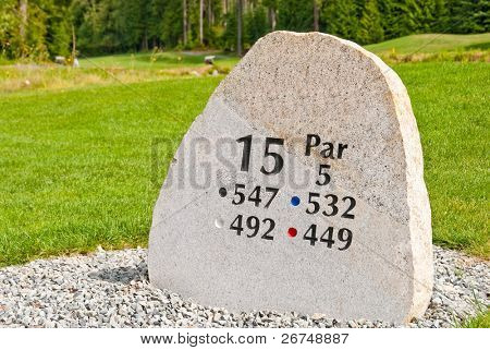 Golf hole sign.