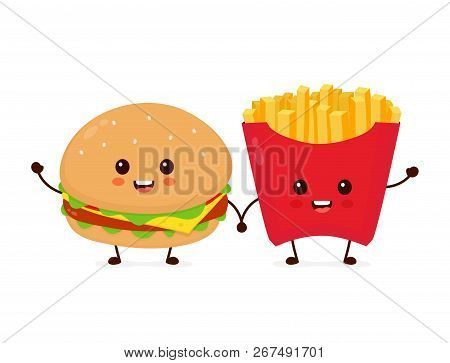 Happy Smiling Funny Cute Burger And French Fries Friends. Vector Flat Cartoon Character Illustration