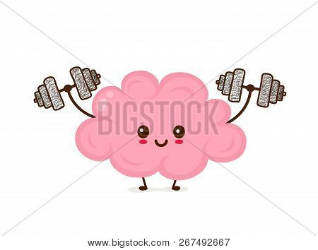 Cute Smiling Happy Funny Brain With Dumbbells.vector Flat Cartoon Character Illustration Icon Desgin