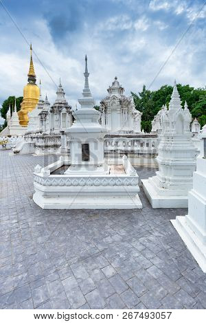Thai Temple Wat Suan Dok With Cemetery In Chiang Mai; Thailand