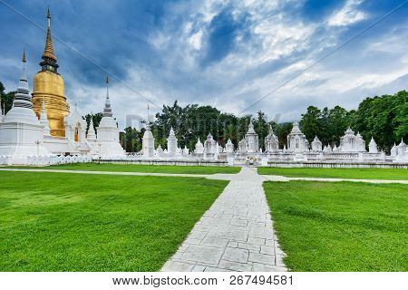 Way To The Thai Temple Wat Suan Dok With Cemetery In Chiang Mai; Thailand