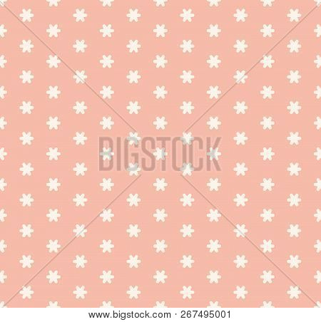 Subtle Minimal Pink Vector Seamless Pattern With Tiny Geometric Flowers, Snowflakes, Stars. Simple A