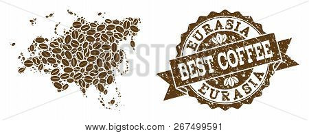 Compositions Of Coffee Map Of Europe And Asia And Grunge Stamp Seal. Mosaic Vector Map Of Europe And