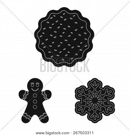 Vector Illustration Of Biscuit And Bake Symbol. Collection Of Biscuit And Chocolate Stock Symbol For