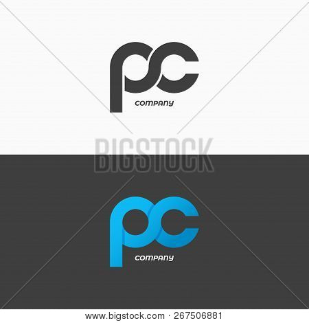 Pc Letters Logo. Letter P And Letter C Icon Set Vector Background