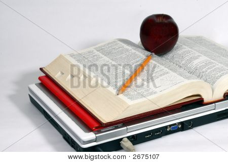 Laptop, Book, Apple And Pencil