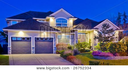 Luxury house at dusk in Vancouver, Canada. poster