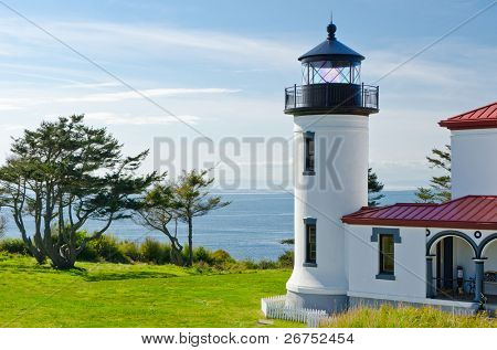 A white and red lighthouse over a pacific ocean at sunny day.