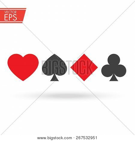 Set Of Playing Card Suits Isolated On White Background. Poker Symbol.