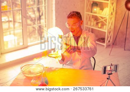 Careless Terrified Scientist Having Fire At Home