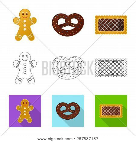 Vector Illustration Of Biscuit And Bake Sign. Set Of Biscuit And Chocolate Stock Symbol For Web.