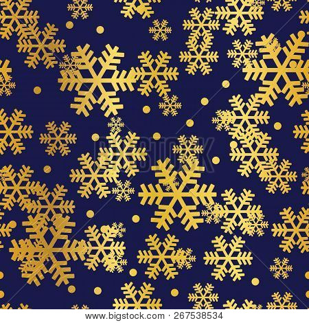 Golden Navy Christmas Snowflakes Seamless Pattern. Great For Winter Holidays Wallpaper, Backgrounds,