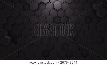 Abstract Hexagon Geometric Texture. Black Surface Illustration. Dark Bright And Clean Hexagonal Grid