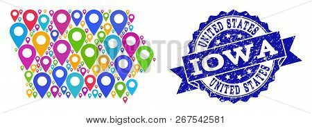 Compositions Of Bright Map Of Iowa State And Grunge Stamp Seal. Mosaic Vector Map Of Iowa State Is D