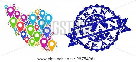 Compositions Of Colorful Map Of Iran And Grunge Stamp Seal. Mosaic Vector Map Of Iran Is Composed Wi