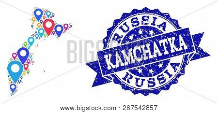Compositions Of Colorful Map Of Kamchatka Peninsula And Grunge Stamp Seal. Mosaic Vector Map Of Kamc