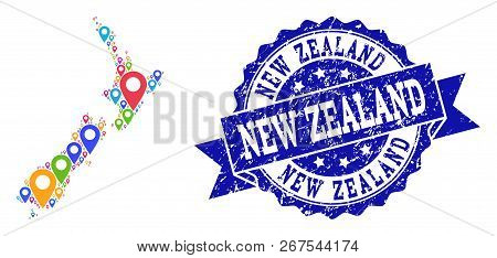 Compositions Of Bright Map Of New Zealand And Grunge Stamp Seal. Mosaic Vector Map Of New Zealand Is
